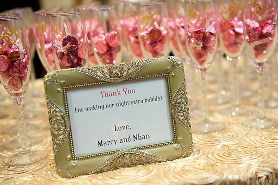 Hershey Kiss Wedding Favor Champagne Flutes