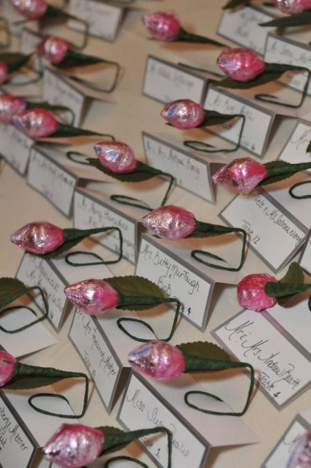 Hershey Kiss Rose Favor Place Cards