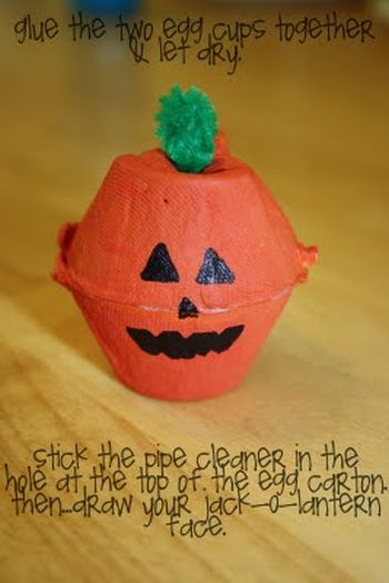 Kindergarten Halloween Pumpkin Egg Carton