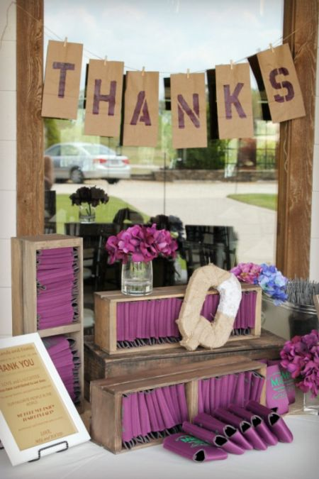 Wedding Favor Koozies Display