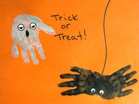 Handprint Preschool Halloween Crafts