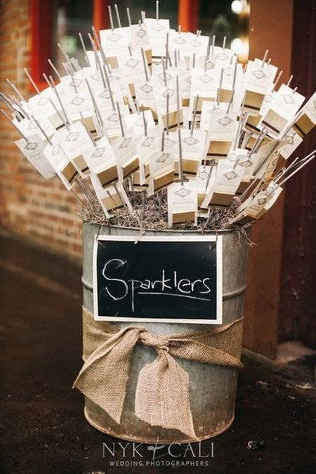 Wedding Sparklers With Burlap Bow