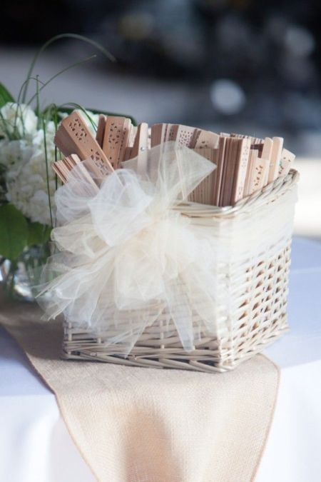 Neutral Wedding Favor Fan Display