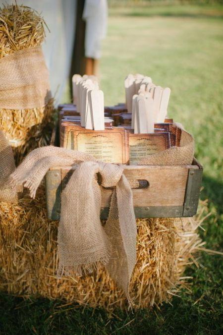 Burlap Wedding Favor Fans Display