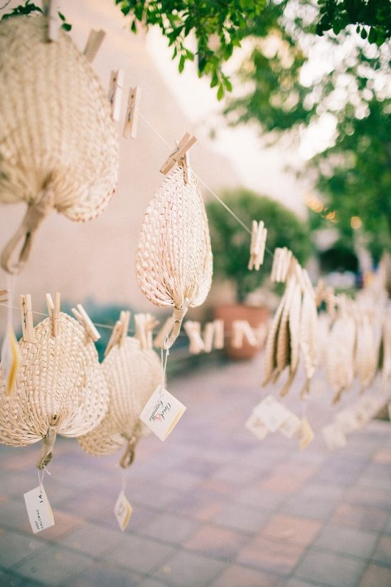 Straw Wedding Favor Fan Display