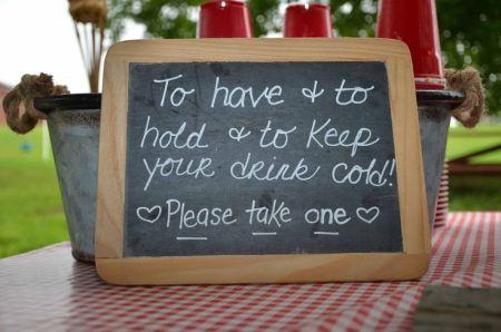 Wedding Favor Koozies Sign
