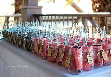 Wedding Favor Koozie Display Idea