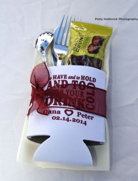 Wedding Koozie Favor Presentation