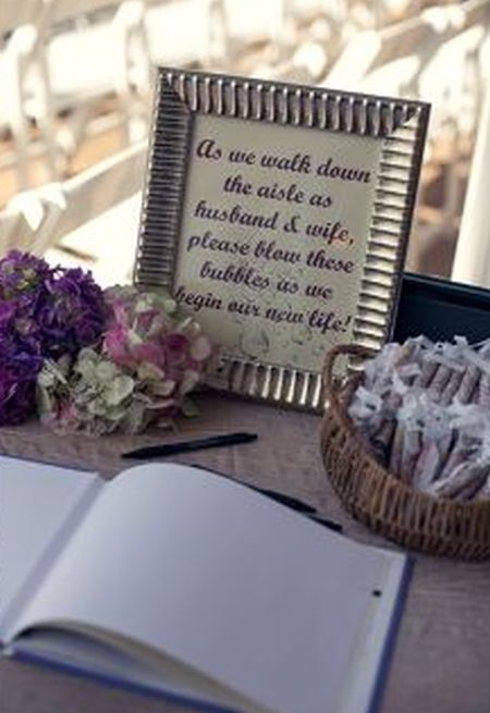 layering the basket of bubbles flowers guest book and lovely message achieve the optimum degree of design
