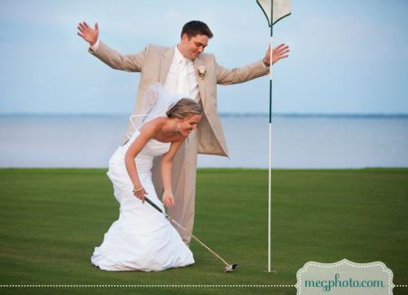 Bride & Groom Golfing