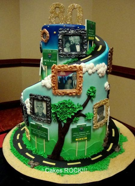 Life's Road 80th Birthday Cake Idea.  See more cake and party ideas at one-stop-party-ideas.com.