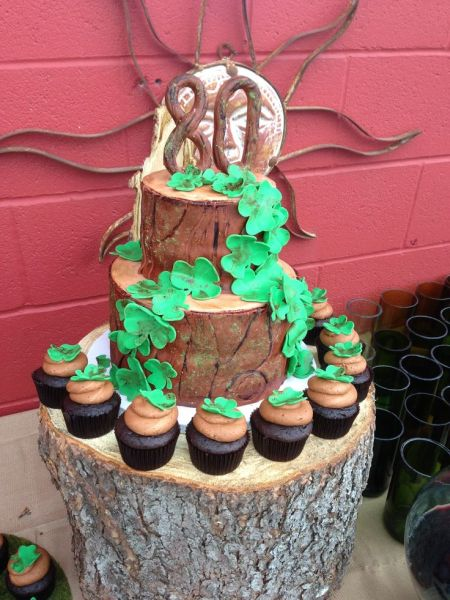 Tree Stump 80th Birthday Cake