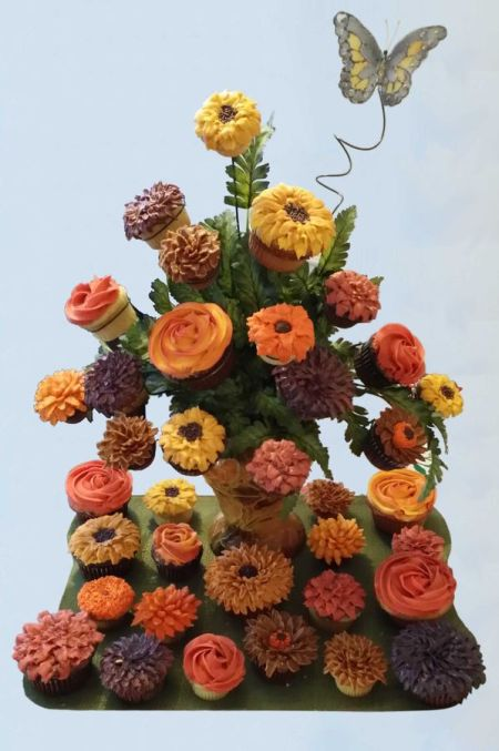 A Bouquet Of Cupcake Flowers