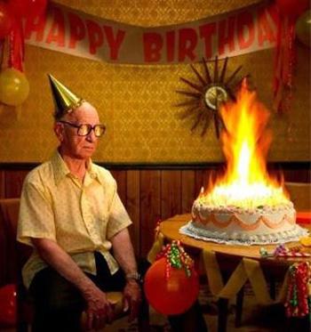 Burning 80th Birthday Cake
