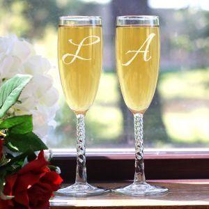 Monogrammed Champagne Glasses
