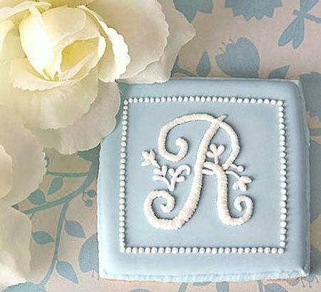 Monogrammed Decorated Wedding Cookies