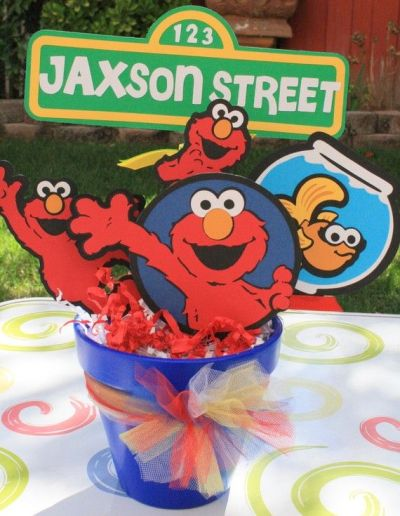 Casual Centerpiece For Elmo Birthday Party