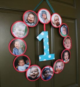 First Boy Birthday Picture Wreath