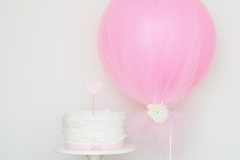 First Girl Birthday Tulle Balloons