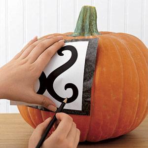 Stenciled Halloween Pumpkin Carving Ideas