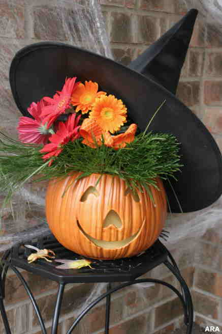 Happy Witch Halloween Pumpkin Carving Idea