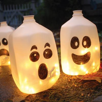 Lighted Halloween Milk Jugs