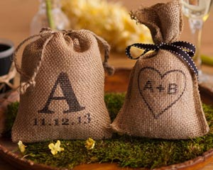 Burlap Hershey Kiss Wedding Favor