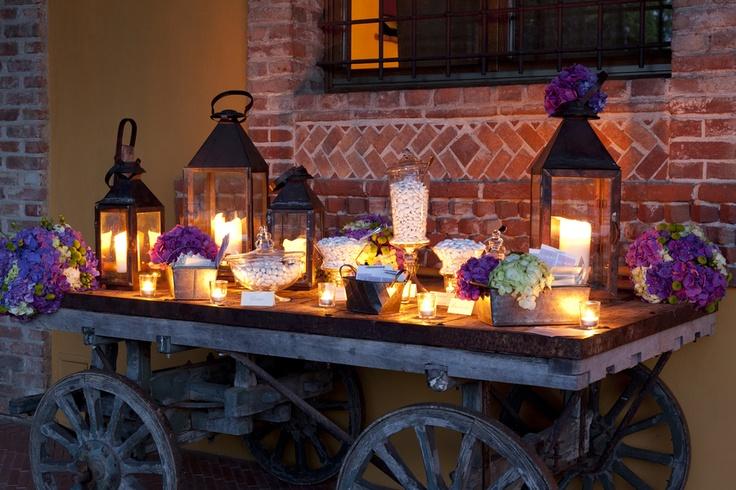 Wedding Candy Buffet Atop Rustic Wagon